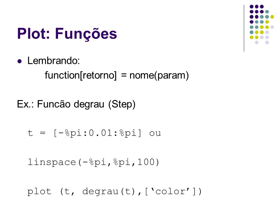 Plot: Funções Lembrando: function[retorno] = nome(param)